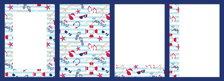 Collection of abstract summer backgrounds with seamless pattern for brochure, poster design. Vector illustration
