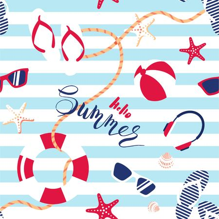 Summer seamless pattern. Cute summer marine striped background.  Vector illustration