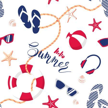 Summer seamless pattern. Cute summer nautical background.  Vector illustration