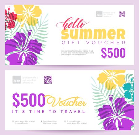 Collection of summer gift vouchers.  Gift certificate for a holiday.  Vector flat illustration Ilustração