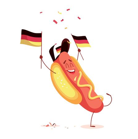 Funny cartoon hot dog holding germany flag. Vector illustration