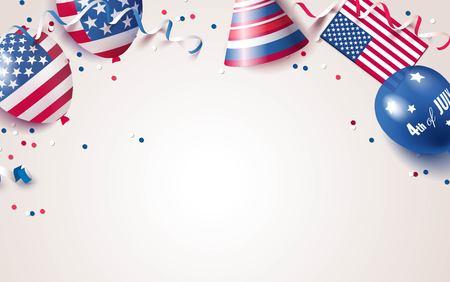 4th of July. USA independence day celebration background with balloons, flag and confetti. Festive border flat lay. Vector illustration Illustration