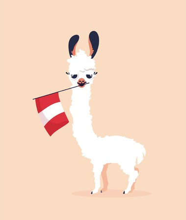 Cute cartoon lama with flag of Peru on pink background. Vector illustration Vettoriali