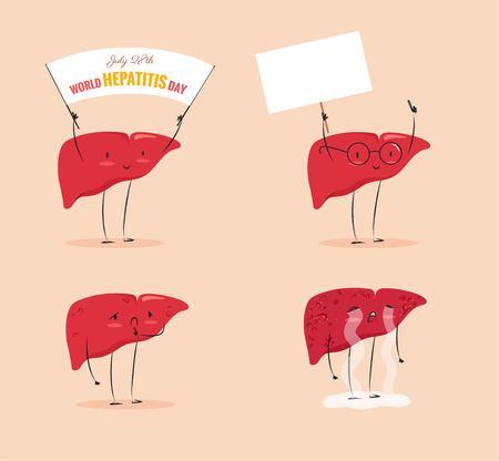 Sfondo di consapevolezza dell'epatite. 28 luglio Giornata mondiale dell'epatite. Illustrazione vettoriale