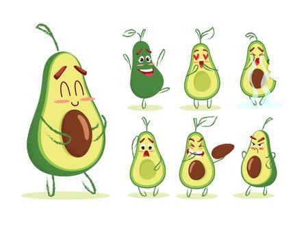 Cute cartoon avocado collection. Different emotions set. Vector illustration Illustration