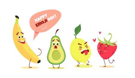 Cute cartoon fruits with different emotions. Happy emoji day concept. Vector illustration Ilustração