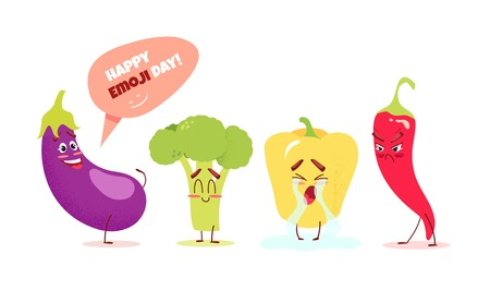 Cute cartoon vegetables with different emotions. Happy emoji day concept. Vector illustration Ilustração