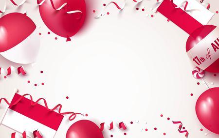 17 août. Fond de célébration de la fête de l'indépendance de l'Indonésie avec des ballons, un drapeau et des confettis. Cadre festif à plat. Illustration vectorielle