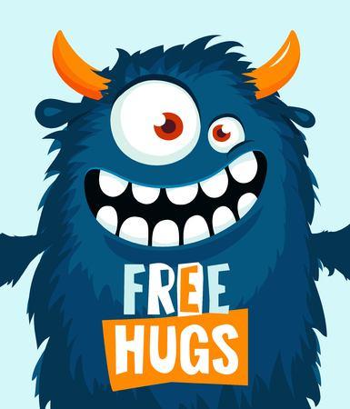 Funny cartoon monster need a hug. Vector illustration Ilustração