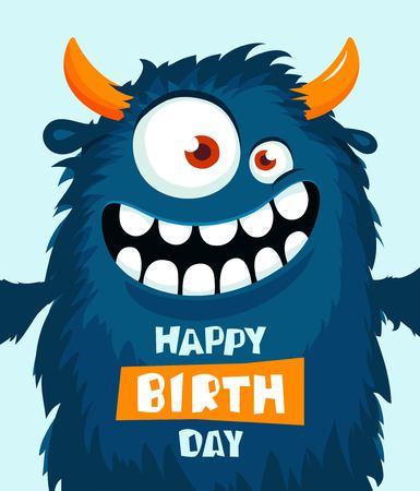 Funny cartoon monster. Happy birthday cute design. Vector illustration Ilustração