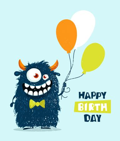 Funny cartoon monster with balloons. Happy birthday cute design. Vector illustration Ilustração