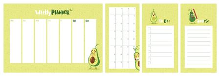 Weekly, daily planner and to do list with cute avocado character. Vector illustration.