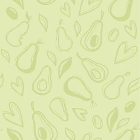 Avocado hand drawn seamless pattern. Vector illustration