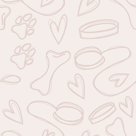 Hand drawn seamless pattern with dog footprint, bones and leash. Vector illustration
