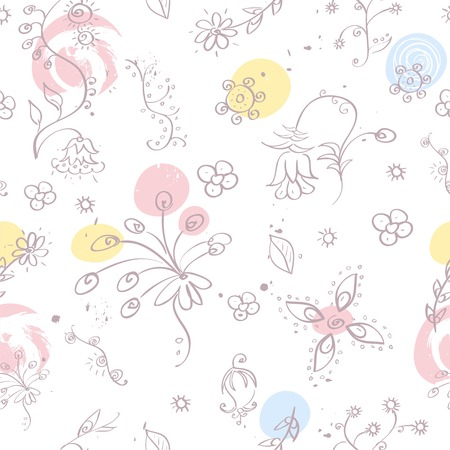 Floral seamless pattern. Pastel colors. Hand drawn vector illustration