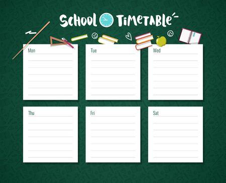 Modèle d'horaire scolaire avec fond de tableau et fournitures scolaires. Illustration vectorielle. Vecteurs