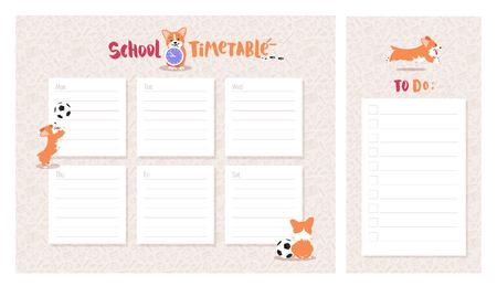 School timetable and to do list with cute welsh corgi dog character. Vector illustration. Ilustração