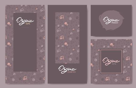 Collection of package templates for organic products. Vector illustration