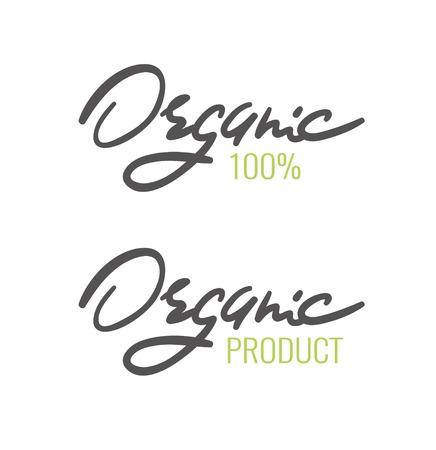 Organic handwritten lettering typography. Organic logo. Vector illustration. Ilustração