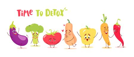 Cute cartoon vegetables with happy emotions. Time to detox concept. Vector illustration Ilustração