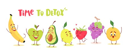Cute cartoon fruits with happy emotions. Time to detox concept. Vector illustration