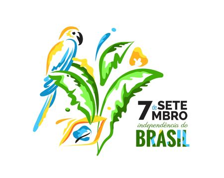 7 September. Brazil Independence Day greeting card. Colorful banner with parrot and palm leaves. Bright brazilian national colors. Vector illustration