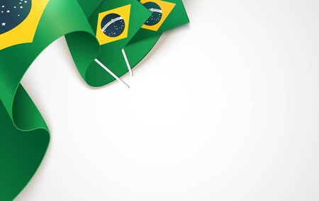 Brazil national flags isolated on white background. Patriotic Symbolic background. Vector illustration