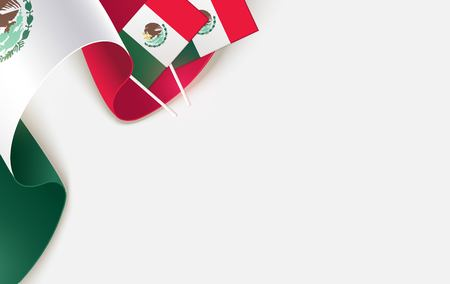 National mexican flags isolated on white background. Patriotic Symbolic background. Vector illustration