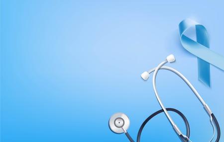 Prostate Cancer Blue Awareness Ribbon Background. Prostate cancer awareness symbol and stethoscope on blue background. Vector illustration Illustration