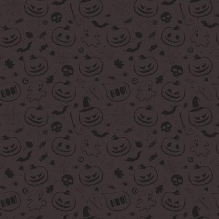 Halloween black seamless pattern with main symbols - pumpkins, skull, spiderweb, ghost and bats. Vector illustration