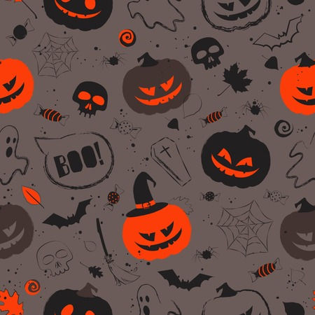 Halloween black orange seamless pattern with main symbols - pumpkins, skull, spiderweb, ghost and bats. Vector illustration