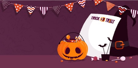 Happy halloween holiday background with pumpkin, witch hat and bunting flags. Vector illustration