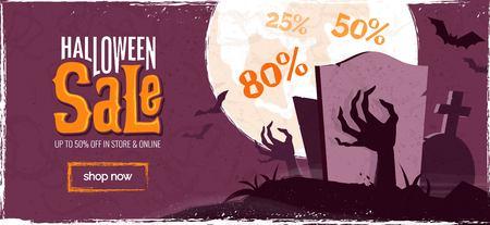 Halloween sale spooky background. Vector illustration