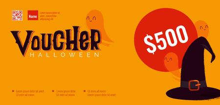 Halloween gift voucher template with ghosts and witch hat. Vector illustration Ilustração