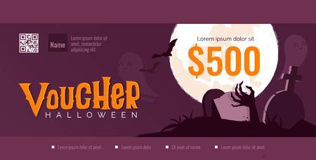 Halloween gift voucher template. Vector illustration Ilustração