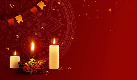 Diwali festival of lights red background.  DIwali holiday shiny banner with diya lamp, candles, bunting flags and rangoli. Vector illustration