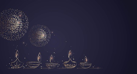 Hand Drawn Illustration of Diwali lamps with Golden Lights on Dark Blue Background. Vector Illustration