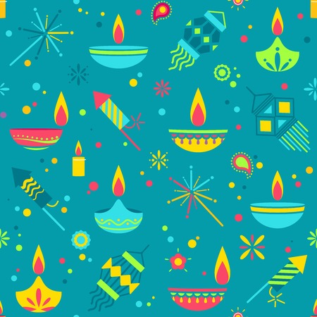 Diwali colorful seamless pattern with main holiday symbols. Vector illustration