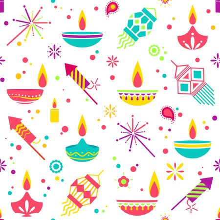 Diwali colorful seamless pattern with main symbols. Vector illustration