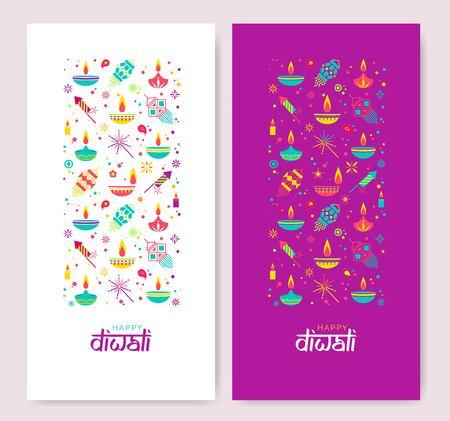 Diwali colorful posters with main symbols. Vector illustration Ilustração