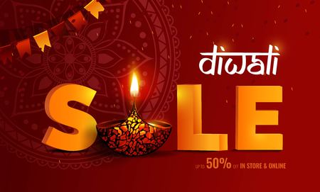 Diwali festival of lights sale banner. DIwali holiday shiny background with diya lamp, bunting flags and rangoli. Vector illustration Illustration