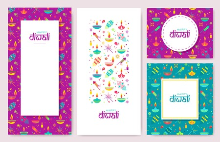 Diwali colorful posters , banners with main holiday symbols. Vector illustration