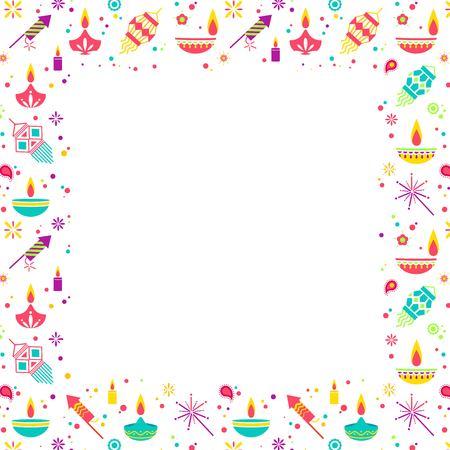 Diwali festival of lights frame with main holiday symbols. Vector illustration