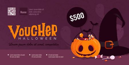 Halloween gift voucher template with pumpkin and witch hat. Vector illustration