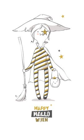 Cute halloween witch with broom. Happy halloween greeting card. Vector illustration