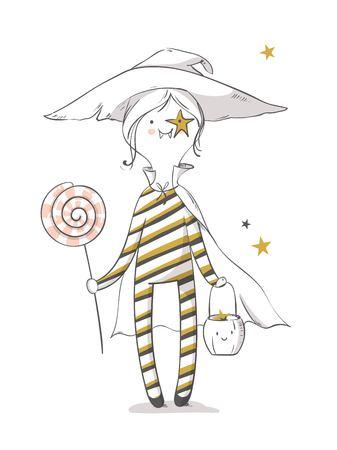 Cute halloween witch with lollipop. Happy halloween greeting card. Vector illustration Ilustração