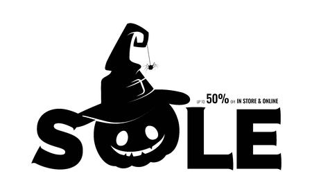 Black silhouette of halloween pumpkin in witch hat and text sale. Vector illustration Ilustração