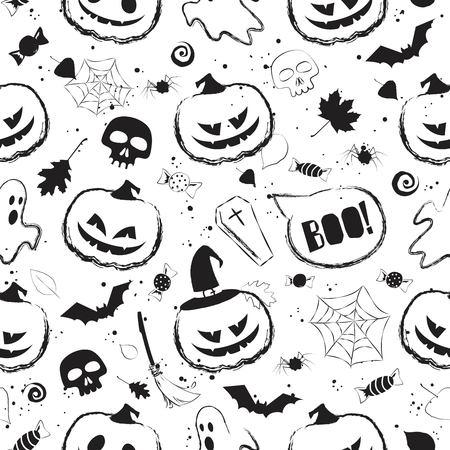 Halloween black and white seamless pattern with main symbols - pumpkins, skull, spiderweb, ghost and bats. Vector illustration Ilustração