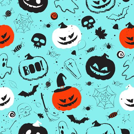 Halloween light blue seamless pattern with main symbols - pumpkins, skull, spiderweb, ghost and bats. Vector illustration Ilustração