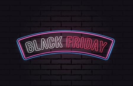 Black friday sale neon poster. Vector illustration.
